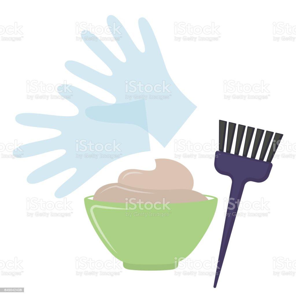 Hair dye tools vector art illustration
