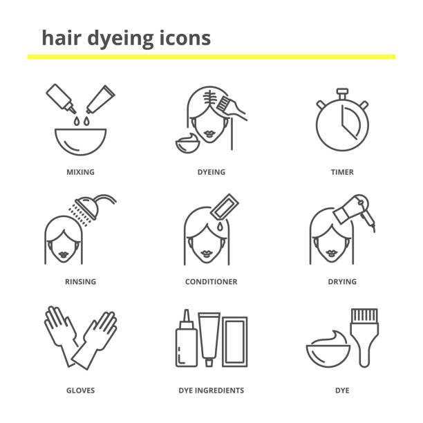 hair dyeing icons set - włosy stock illustrations