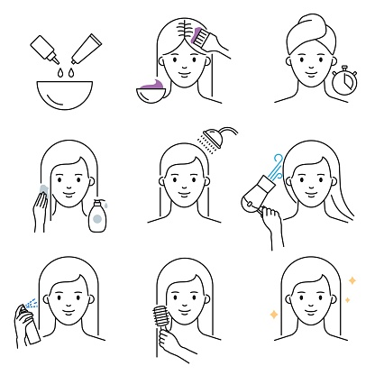 Hair dyeing icons vector illustration outline style