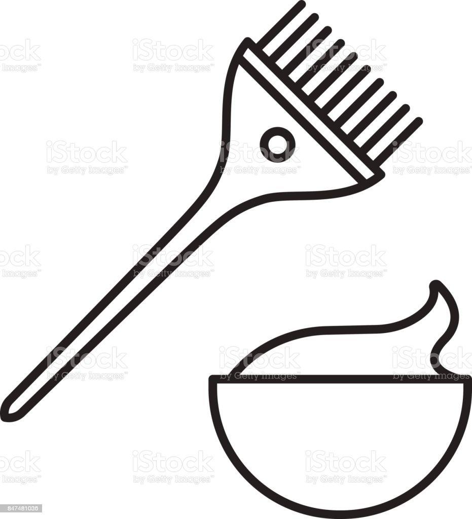 Hair dyeing set icon vector art illustration