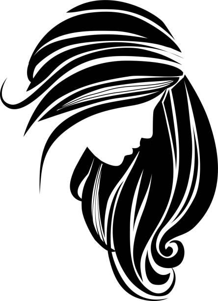 ilustraciones, imágenes clip art, dibujos animados e iconos de stock de icono del pelo para el salón de belleza. hermosa silueta femenina. chica con el pelo largo - cabello largo
