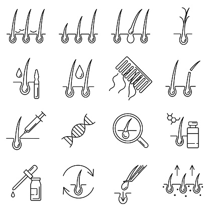 Hair loss problem and ways of treatment line icon set. Hair repair for alopecia, dandruff, growth, transplantation outline signs with editable stroke