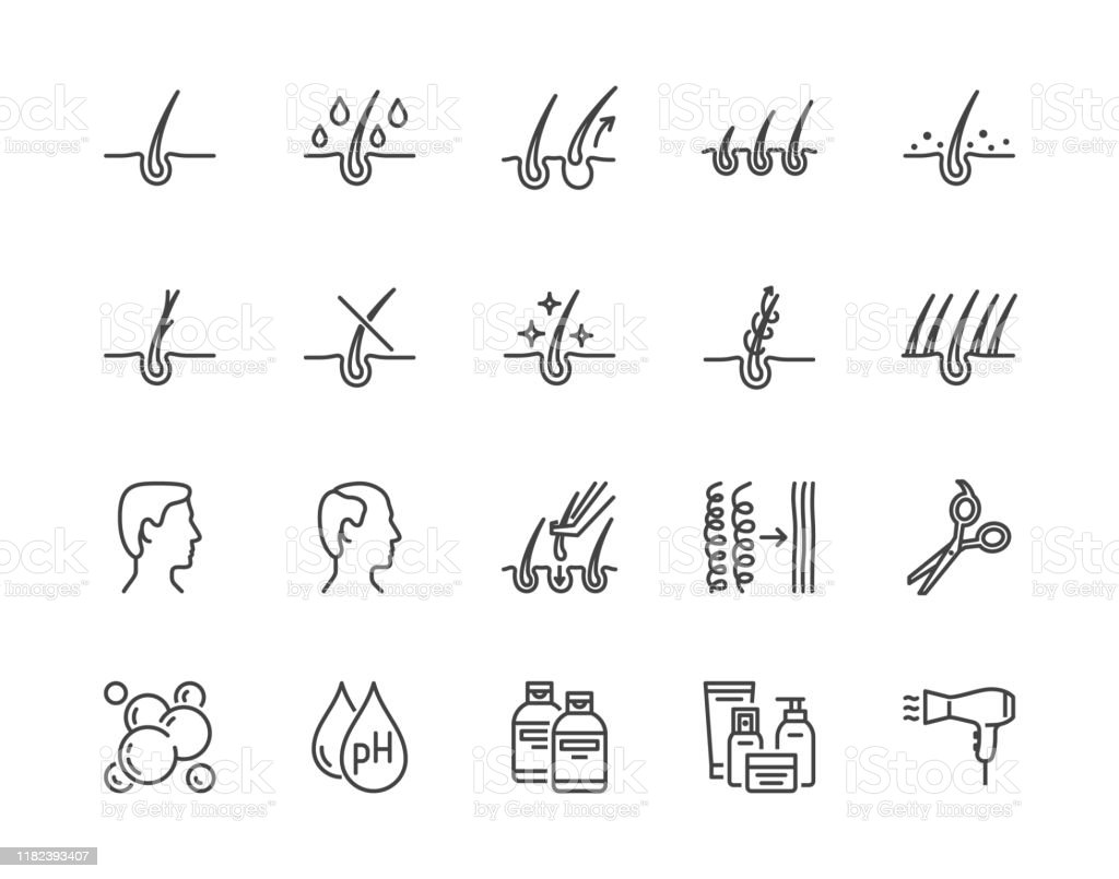 Hair Loss Treatment Flat Line Icons Set Shampoo Ph Dandruff Hair Growth Keratin Conditioner Bottle Vector Illustrations Outline Signs For Beauty Store Pixel Perfect 64x64 Editable Strokes Stock Illustration Download Image