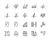 Hair loss treatment flat line icons set. Shampoo ph, dandruff, hair growth, keratin, conditioner bottle vector illustrations. Outline signs for beauty store. Pixel perfect 64x64. Editable Strokes.
