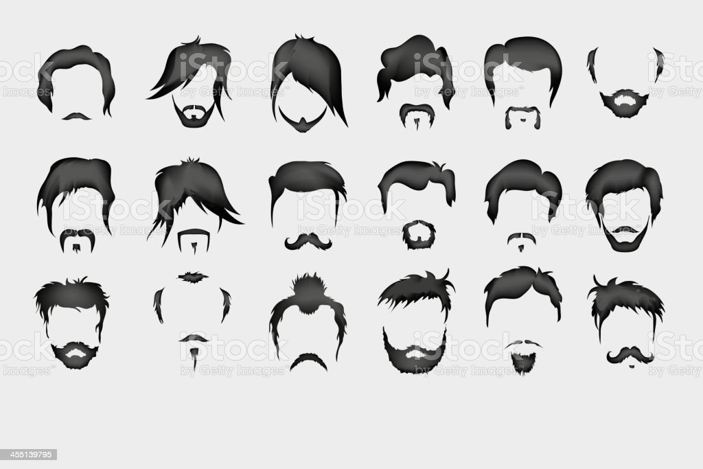 hair, mustache, beard vector art illustration