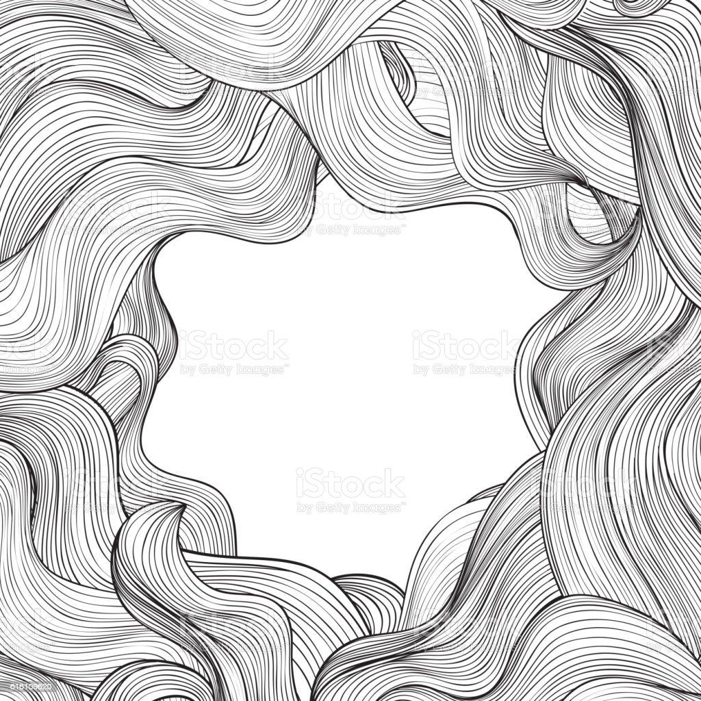 Hair outline background. Wavy frame Abstract beauty salon design vector art illustration