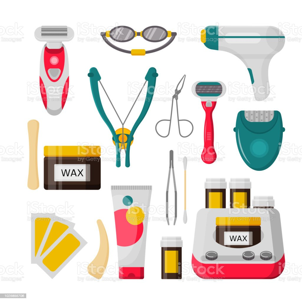 Hair removal icon set vector isolated illustration vector art illustration