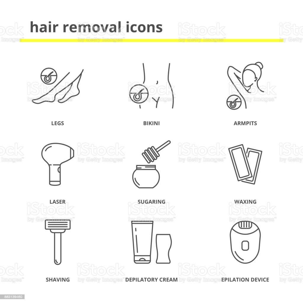 Hair removal icons: Legs, bikini, armpits, laser, sugaring, waxing,shaving, depilatory cream, epilation device vector art illustration