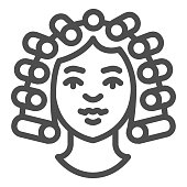 Hair rollers on girl head line icon, makeup routine concept, Hairdresser salon sign on white background, girl with curlers on her head icon in outline style for mobile. Vector graphics