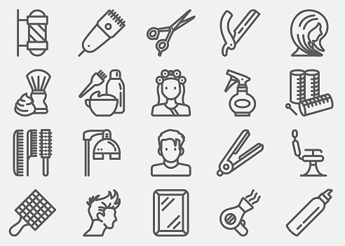 Hair Salon And Barber Line Icons