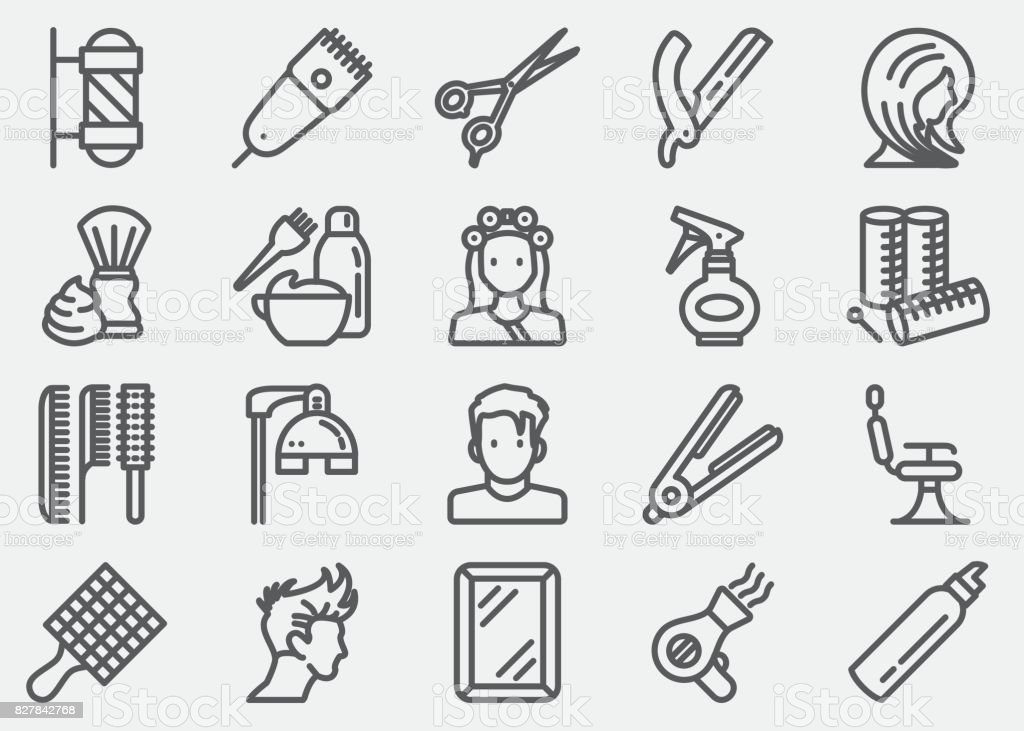 Hair Salon And Barber Line Icons vector art illustration