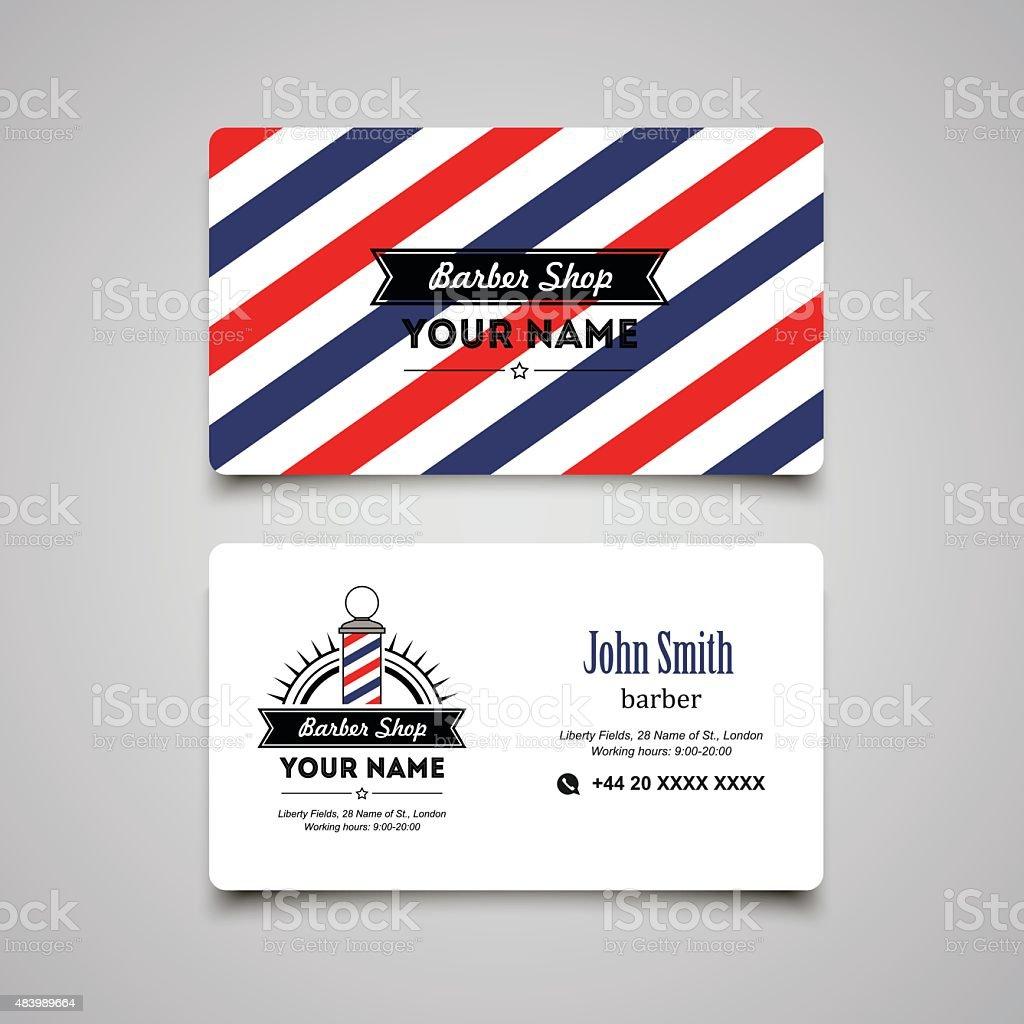 Hair Salon Barber Shop Business Card Design Template stock vector ...