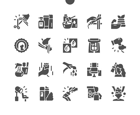 Hair salon. Curling hair. Hairdresser doing hairstyle. Professional barber tools for hair dyeing. Hairbrush. Vector Solid Icons. Simple Pictogram
