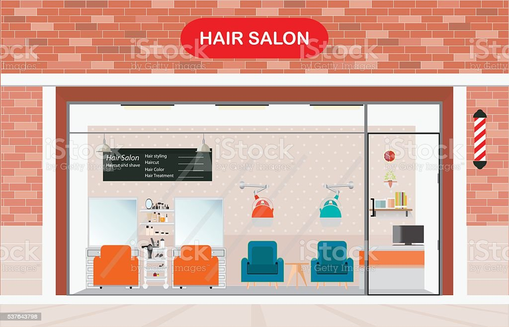 Hair Salon Exterior Building And Interior Beauty Royalty Free