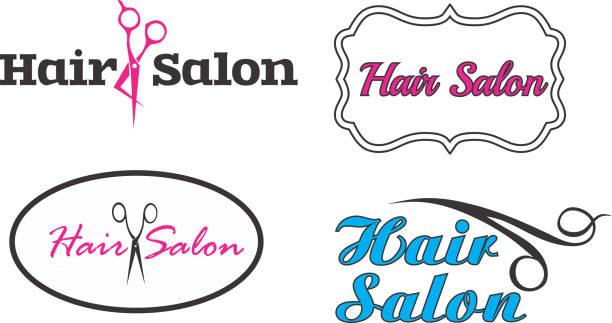 Hair salon four logos vectors vector art illustration