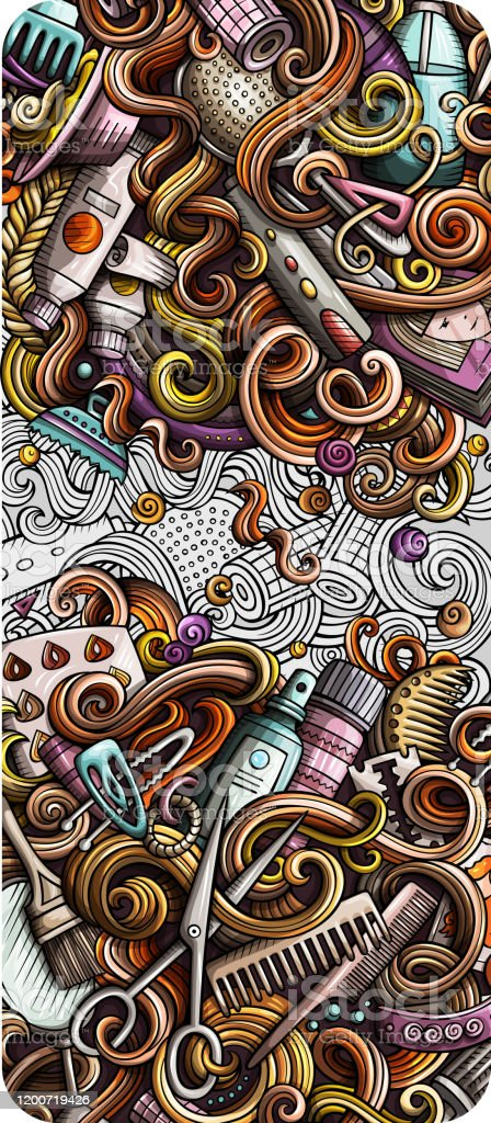 Hair Salon Hand Drawn Doodle Banner Cartoon Detailed Illustrations Stock Illustration Download Image Now Istock