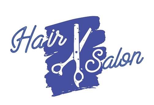 Hair Salon Icon with Scissors and Grunge Blue Stroke, Beauty Service Logo, Isolated Label for Barbershop, Hairsyling