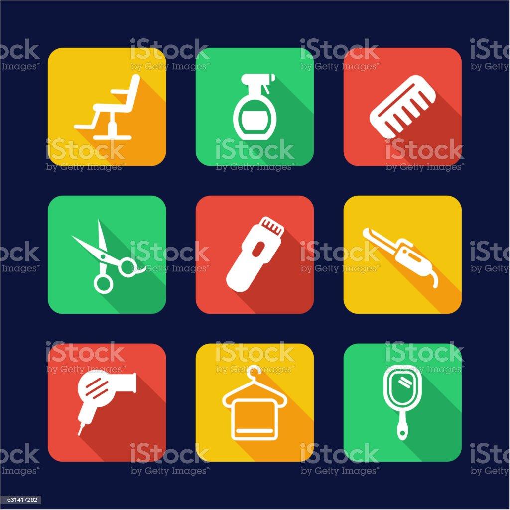 Hair Salon Icons Flat Design Stock Vektor Art und mehr Bilder von ...