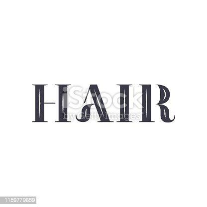 Hair salon logo. Barber shop, retro and vintage style, design.