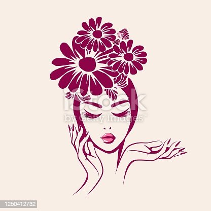 Hair salon, nails art and beauty studio vector illustration.Beautiful woman with sophisticated hairstyle with flowers, elegant makeup and manicure.