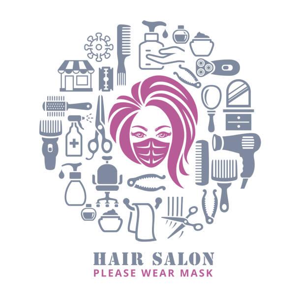 ilustrações de stock, clip art, desenhos animados e ícones de hair salon. opening after quarantine. - covid hair