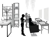 A vector silhouette illustration of a beauty salon.  Young women style the hair of female clients standing by shelves of beauty products for sale.