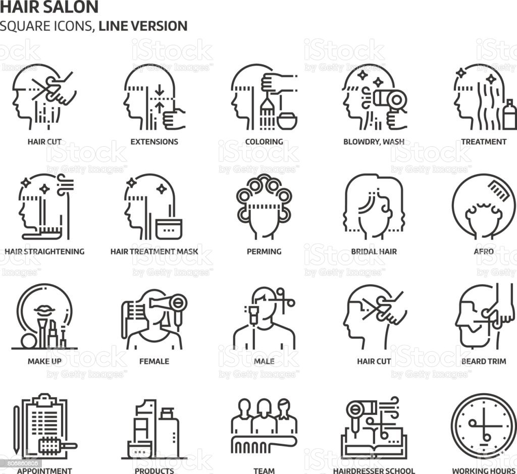 Hair salon, square icon set vector art illustration