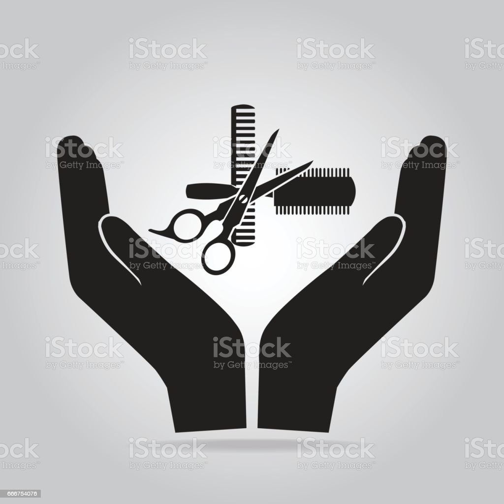 Hair salon with scissors and comb in hand icon hair salon with scissors and comb in hand icon - immagini vettoriali stock e altre immagini di accudire royalty-free