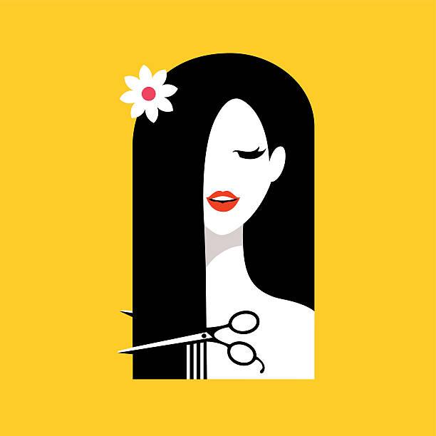 Hair salon with woman. Illustration vector art illustration