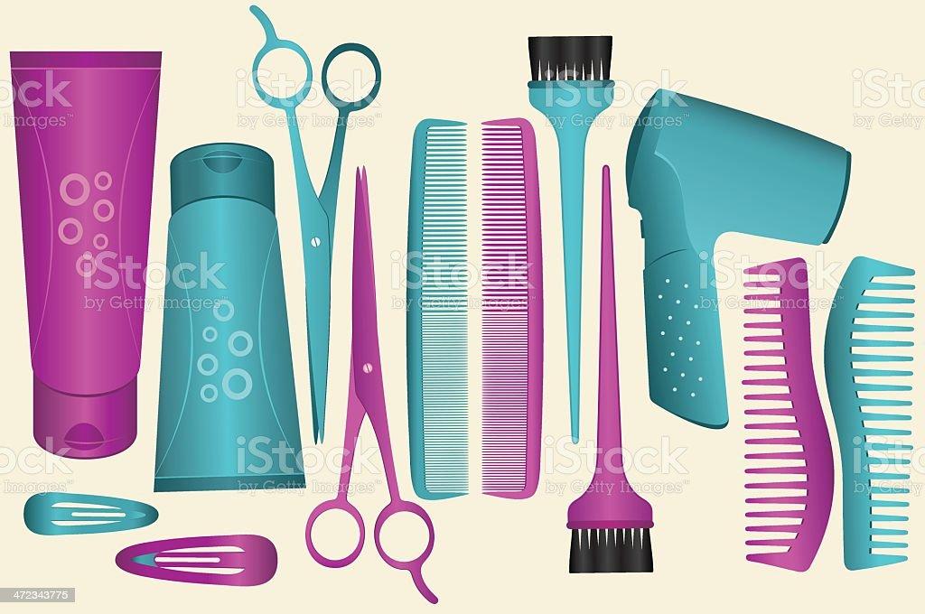 Hair Set vector art illustration