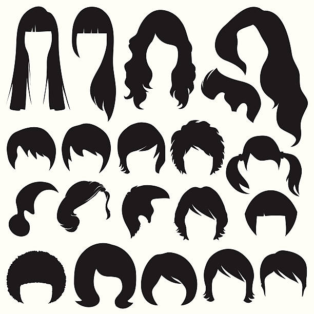 hair silhouettes,  hairstyle - hairstyle stock illustrations, clip art, cartoons, & icons