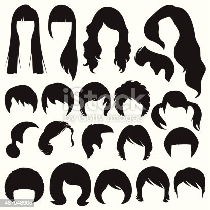 Hair Silhouettes Hairstyle Stock Vector Art & More Images ...