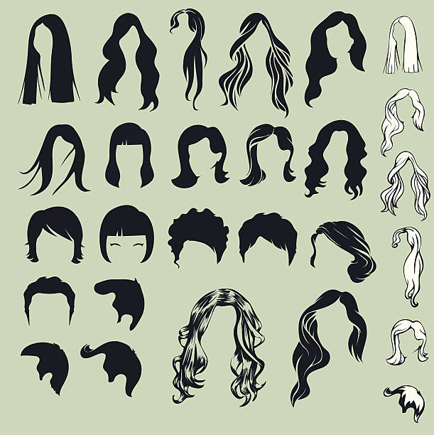hair silhouettes, woman hairstyle - hairstyle stock illustrations, clip art, cartoons, & icons