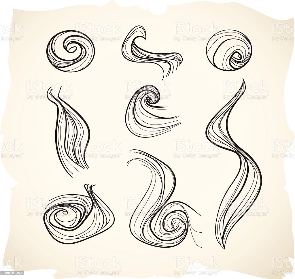 Hair, smoke, wind or air sketches vector art illustration