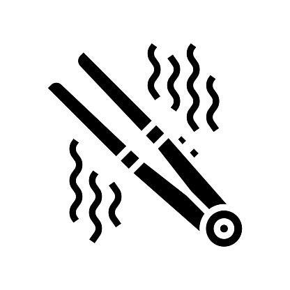 hair straightener device glyph icon vector illustration