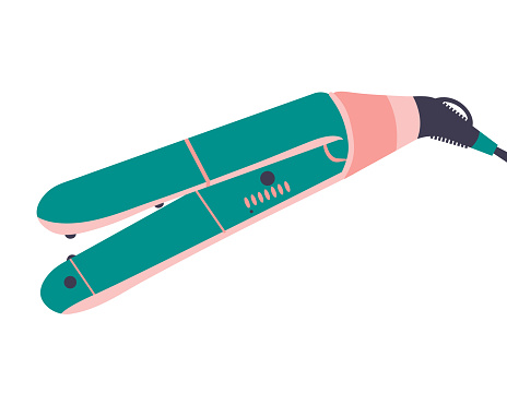 Hair straightener for girls with curly hair. Vector icon on white background.