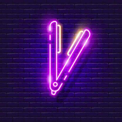 Hair straightener neon sign. Vector illustration for design. Hair care equipment. Beauty salon concept.
