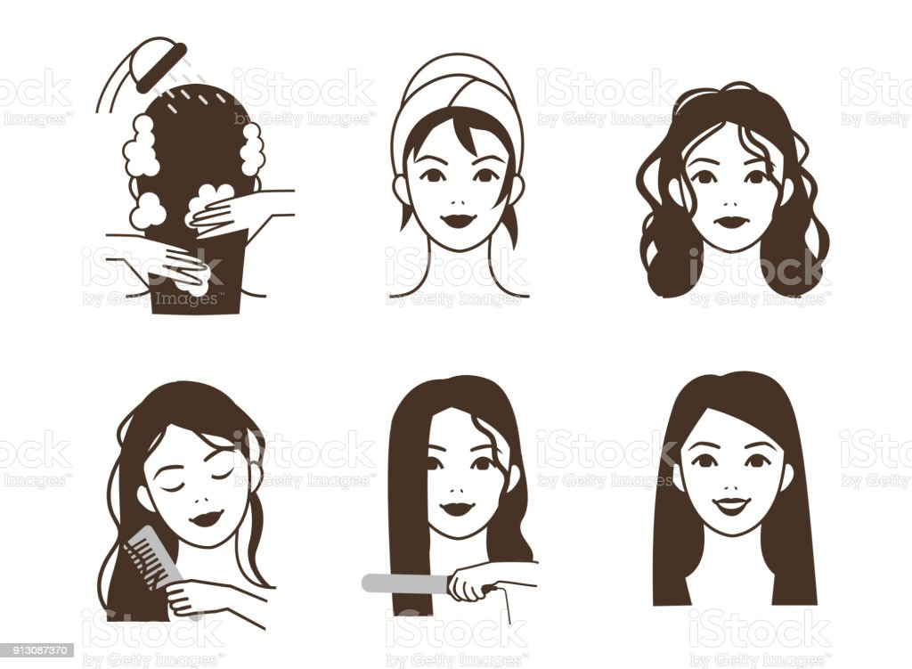 Hair straightening vector art illustration