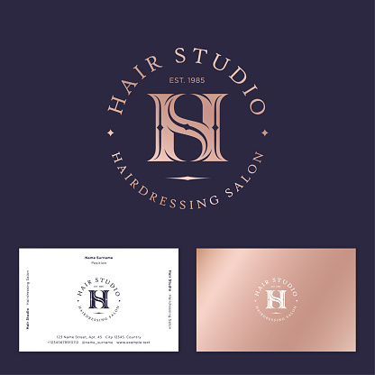 Hair studio emblem. H and S in letters. Business card.