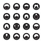 Hair Style Icons - Black Circle Series