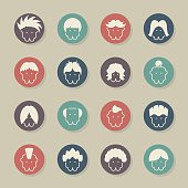 Hair Style Icons Color Circle Series Vector EPS File.