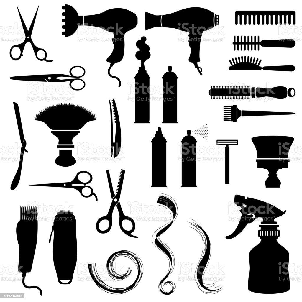 Hair Style Icons vector art illustration