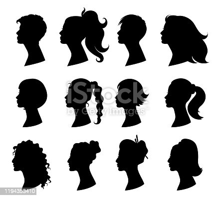 Hair style woman. Beautiful girls with variety of fashionable hairstyles. Design element for beauty salon and hairdresser. Skin and hair care. Isolated black silhouette.  Vector illustration
