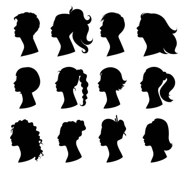 ilustraciones, imágenes clip art, dibujos animados e iconos de stock de mujer estilo de pelo. silueta negra aislada - cabello largo