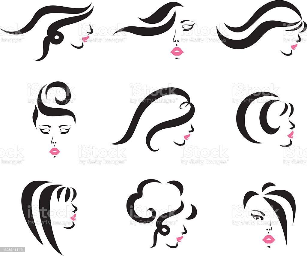 Hair Styles Set vector art illustration