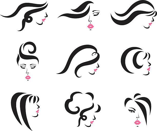 ilustraciones, imágenes clip art, dibujos animados e iconos de stock de estilos de cabello - cabello largo