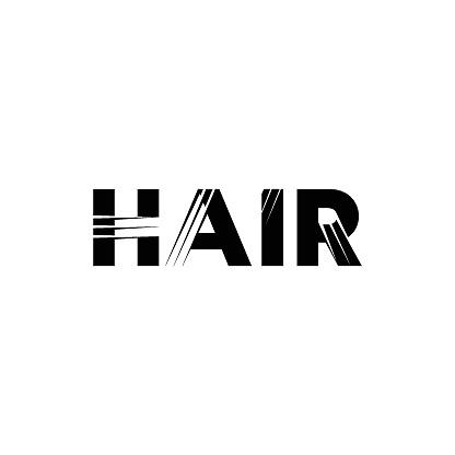 Hair transplantation. Hair salon logo. Typography