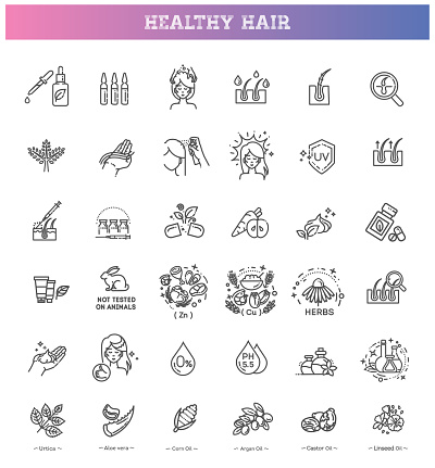 Hair treatment line icon set. Hair strengthening and growth