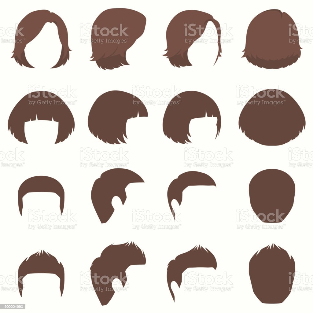 hair, vector hairstyle silhouette, front back and side view vector art illustration