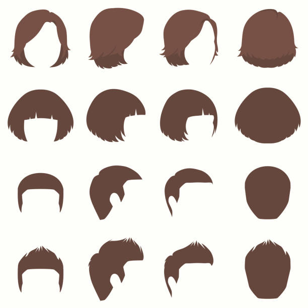 hair, vector hairstyle silhouette, front back and side view - hairstyle stock illustrations, clip art, cartoons, & icons